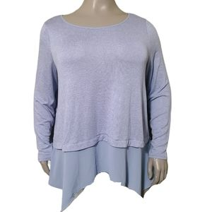 Michel Studio | Chiffon Hem Fine Knit Sweater